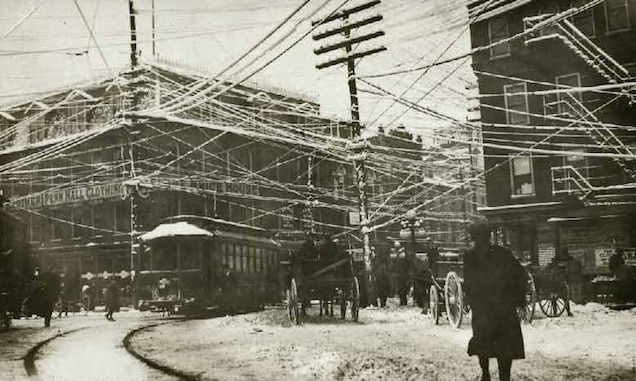 Wires over New York, 1887, via Retronaut, retrieved from