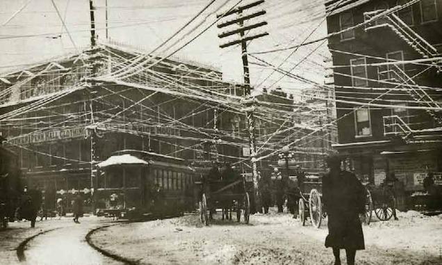 Wires over New York, 1887, via Retronaut, retrieved from